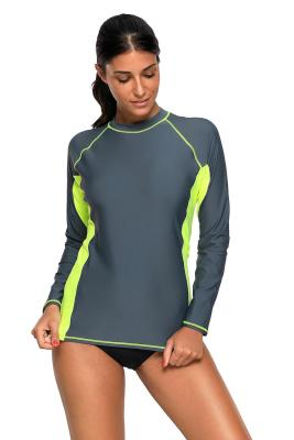 Grey Black Long Sleeve Rashguard Tankini Swim Top