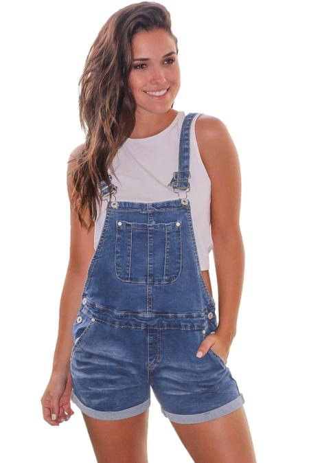 Bleu Girly Fashion Denim Short Salopette