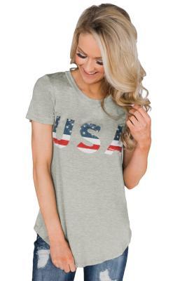Camiseta de manga corta con bandera de EE. UU.