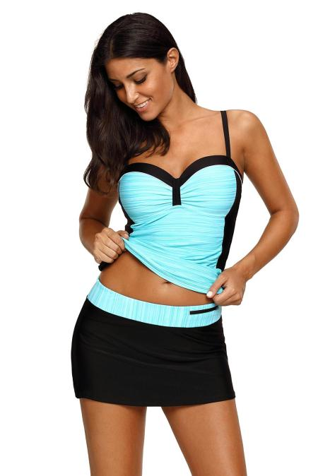 Mint Black Ruched Tankini and Skirted Swimsuit