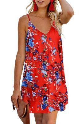 Orange Blumenmuster geknöpftes Slip Cami Kleid