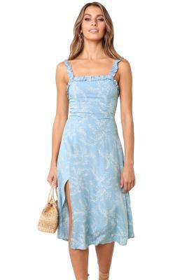 Vestido con estampado botánico azul cielo
