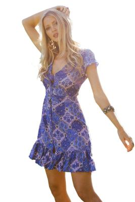 Blue Vintage V-Neck Print Mini Dress