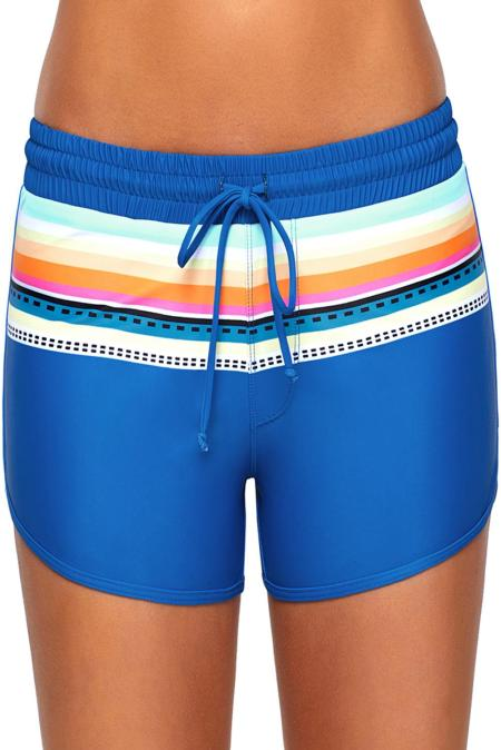 Striped Print Accent Cobalt Blue Drawstring Board Shorts