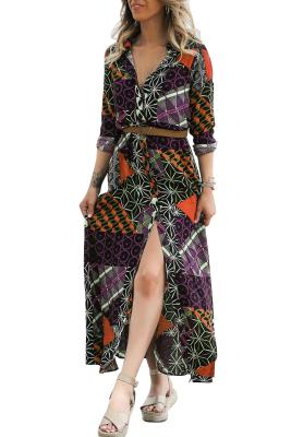 Black Red Boho Print Belted Maxi Shirt Dress