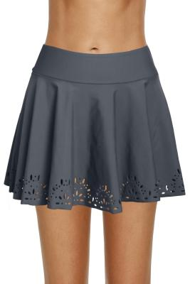 Gray Women Laser Cut Swim Skirtini