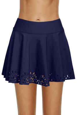 Blue Women Laser Cut Swim Skirtini