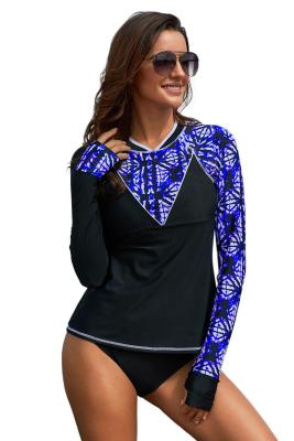 Purple Asymmetric Print Detail Rashguard Swim Top