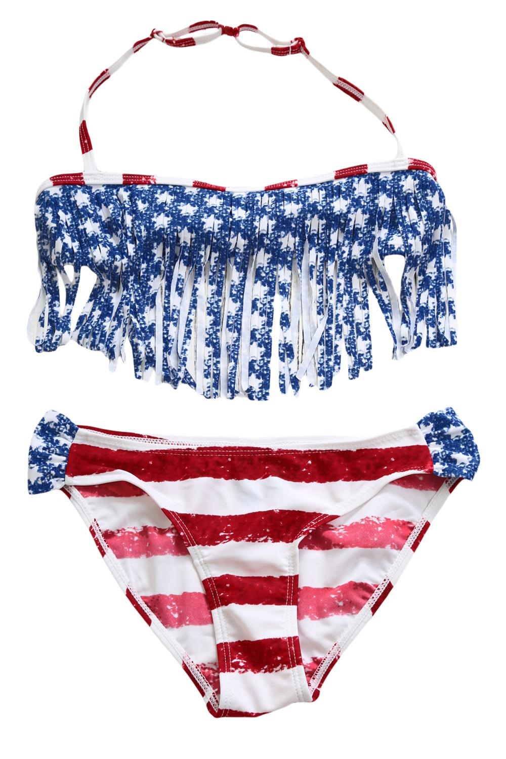 Girls American Flag Swimwear 1 PC