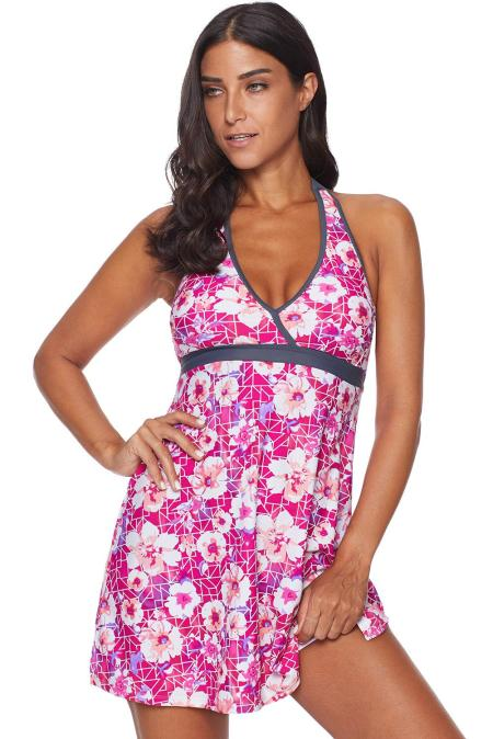 Rose High Waist Swim Dress with Panty