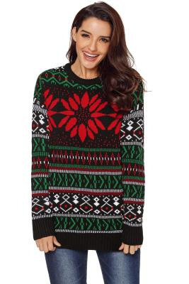 Graphic Red Flower Front Christmas Sweater