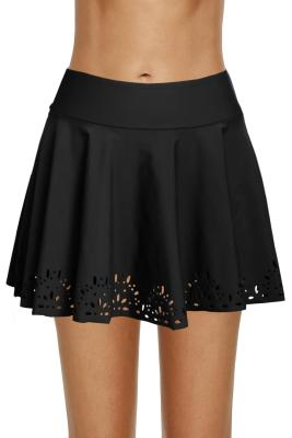 Black Women Laser Cut Swim Skirtini
