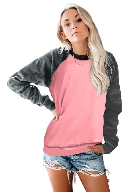 Rosa Rundhals-Sweatshirt mit Camouflage-Print und langen Ärmeln