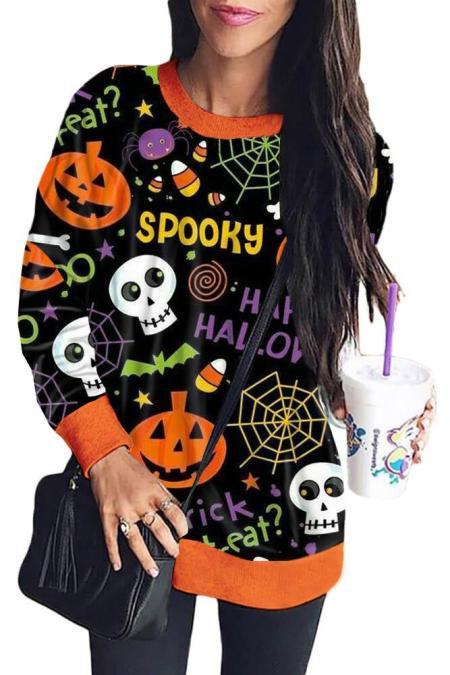 Schwarzes Halloween Element Print Sweatshirt