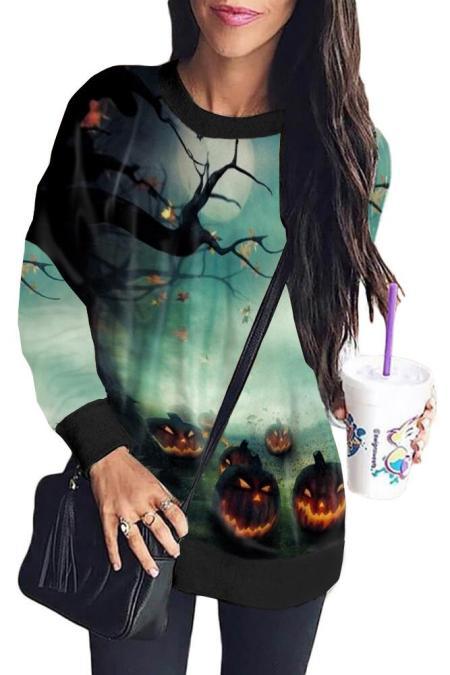 Grünes Halloween Element Print Sweatshirt
