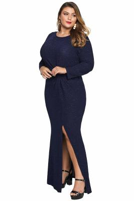 Blue Plus Size Long Sleeve Twist Detail Maxi Metallic Dress