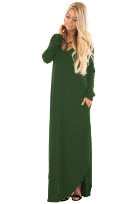 Green Y Strap Ausschnitt Relaxed Long Jersey Dress