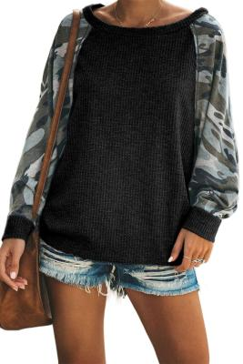 Black Squadron Thermal Camo Contrast Dolman Top