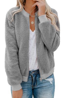 Veste sherpa à poches grise avec prune en sucre grise