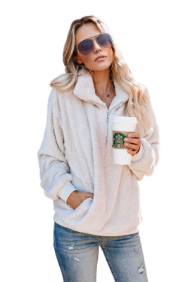 White Traverse Pocketed Sherpa Pullover Sweatshirt
