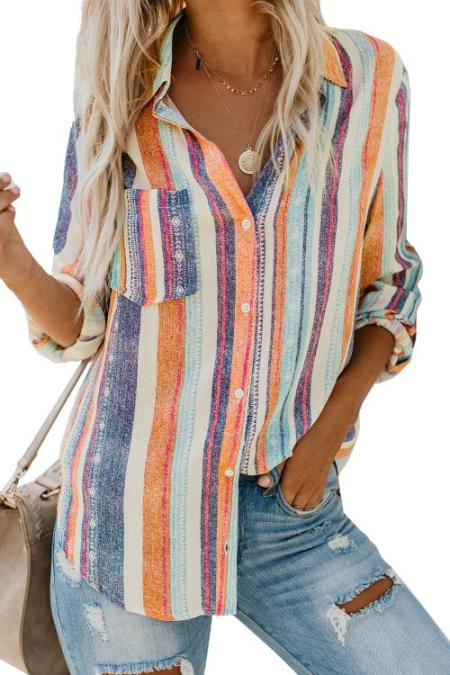 Orange Sweet Enough Striped Button Down Top