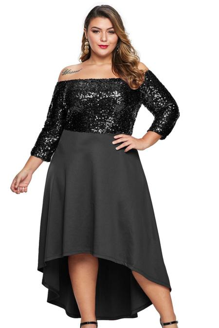 Black Off Shoulder Sequin Bodice Hi-lo Plus Size Dress