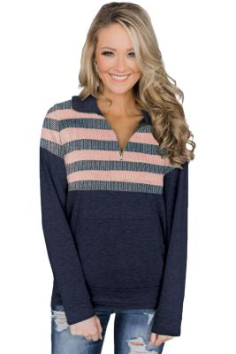 Pink Kangaroo Pocket Zip Collar Sweatshirt