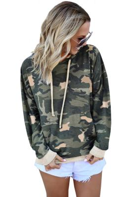 Light Green Camo Print Pullover Hoodie