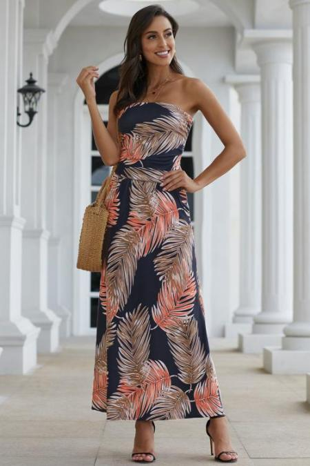 Orange Bohemian Bandeau Floral Print Maxi Dress