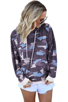 Pink Camo Print Pullover Hoodie
