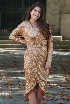 Apricot Sequins Wrapped Ruched Irregular Dress