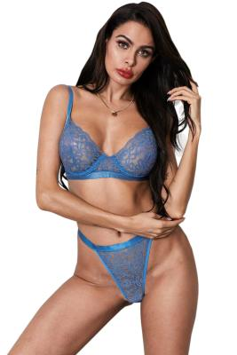 Sky Blue Romantic Night Lace Bralette Lingerie Set