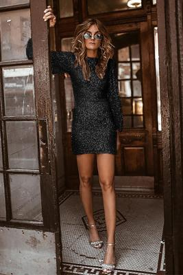 Black Puffy Sleeve Sequin Prom Mini Dress