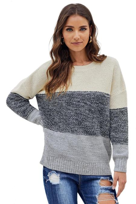 Gray Color Block Netted Texture Pullover Sweater