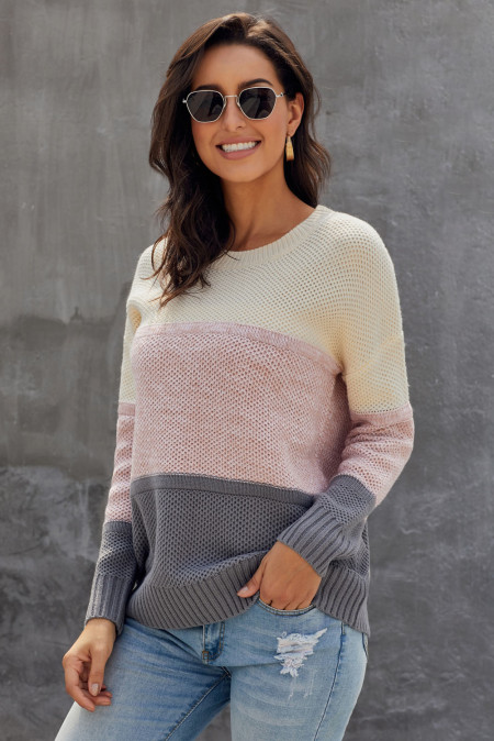 Dark Grey Color Block Netted Texture Pullover Sweater