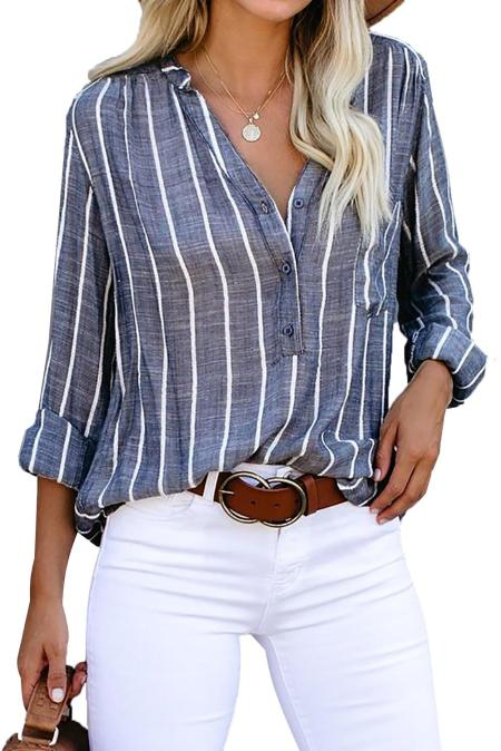 Blue Crisp Air Button Down Embroidered Top