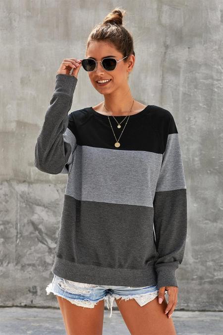 Graues Raglanärmel-Farbblock-Pullover-Sweatshirt