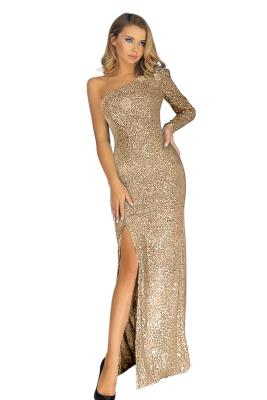 Apricot Fortune One Shoulder Front Slit Sequin Gown