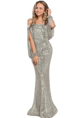 Silver Off Shoulder Tasseled Sleeve Sequin Prom Maxi Dress