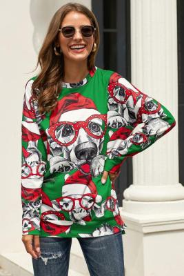 Green Ugly Christmas Cartoon Print Sweatshirt