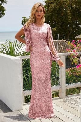 Pink Sequin Fringe Sleeve Prom Maxi Dress