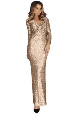 Apricot Long Sleeve V Neck Twist Ruched Sequin Prom Maxi Dress