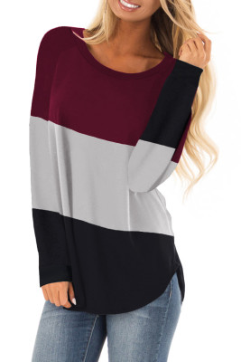 Red Long Sleeve Colorblock Top