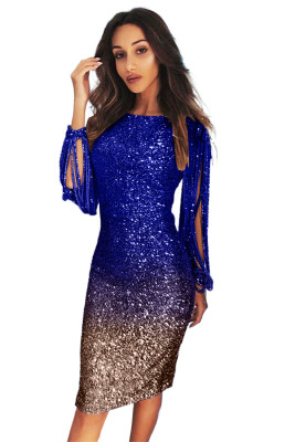 Blue Ombre Sequin Tassel Sleeve Bodycon Prom Dress