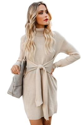 Apricot Long Sleeve Tie Waist Turtleneck Pullover Sweater Dress