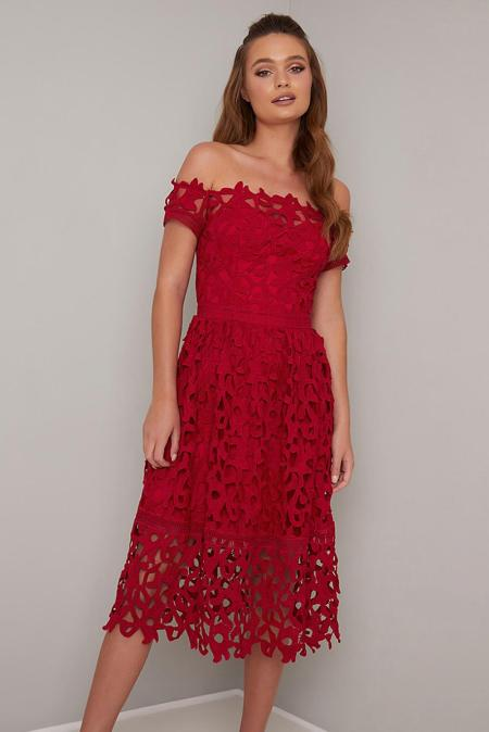 Red Off Shoulder Short Sleeve Crochet Prom Dress