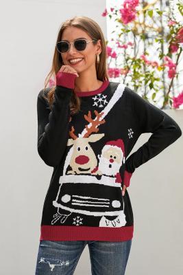 Rena preta Papai Noel Cartoon impressão camisola feia de Natal