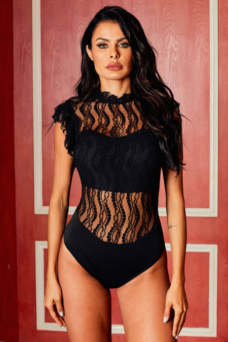 Lace For Words Black Lace High Neck Bodysuit