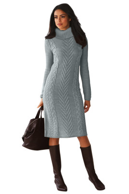 Gray Hand Knitted High Neck Sweater Dress