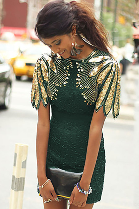 Green Sequin Shoulder Cocktail Party Dress